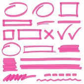 picture of stroking  - Set of hand drawn highlighter design elements marks stripes and strokes - JPG