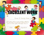 picture of won  - Certificate with children jigsaw border - JPG