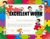 pic of jigsaw  - Certificate with children jigsaw border - JPG