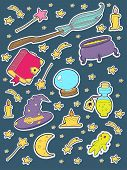 pic of witchcraft  - Witchcraft vector sticker icon set - JPG