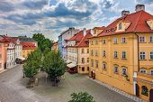 image of red roof  - Typical colorful houses with red roofs in Old City of Prague - JPG