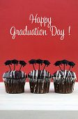 picture of graduation hat  - Happy Graduation Day party chocolate cupcakes with graduation cap hat topper decorations in red and white party theme - JPG