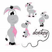 stock photo of donkey  - set of cute donkey with pink tie - JPG