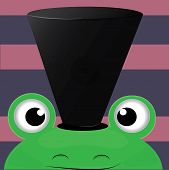 image of cute frog  - cute frog with the black hat on the striped background - JPG