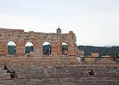 image of arena  - Wall of ancient Arena di Verona and the bleachers to watch the shows - JPG