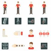 pic of fracture  - Fracture bone flat icons set with people silhouettes skeleton x - JPG