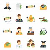 foto of corruption  - Corruption in business government and police icons flat set isolated vector illustration - JPG
