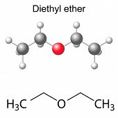 stock photo of ethereal  - Structural chemical formula and model of diethyl ether molecule - JPG