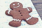 image of ginger man  - Gingerbread man cookies star anise cinnamon and cookbook - JPG