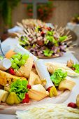 stock photo of catering  - Catering food decorated on table in restaurant