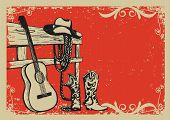 stock photo of cowboys  - Western country music poster with cowboy clothes and music guitar background for text - JPG