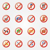 picture of restriction  - Restriction icons or signs  - JPG