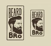 stock photo of barber  - vintage hand drawn logo of barber shop with hair style beard and mustache - JPG