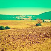 stock photo of farmhouse  - Farmhouse on the Plowed Ground in Spain Retro Effect - JPG
