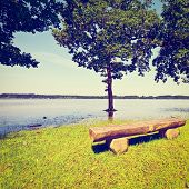 image of bavaria  - Spring Flooding of the Lake Simssee in Bavaria Germany Retro Effect - JPG