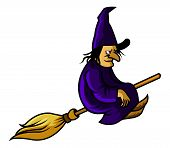 stock photo of broom  - A vector illustration of witch fly with broom - JPG