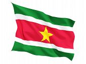 foto of suriname  - Waving flag of suriname isolated on white - JPG