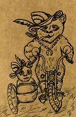 pic of pandas  - Grunge sketch of two pandas on motorcycle hand drawn illustration - JPG