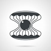 image of scallops  - Black vector icon for open scallop with gem on white background - JPG