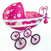 pic of buggy  - Pink buggy with babys dummy on handle - JPG
