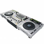 foto of mixer  - Digital black dj mixer and cd player - JPG