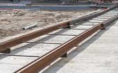 picture of tram  - Tram track construction on city street  - JPG