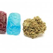 image of weed  - Marijuana Bud and Weed Candy Containing THC - JPG