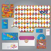 foto of masquerade mask  - masquerade cards and invitation set with with carnival masks different forms - JPG