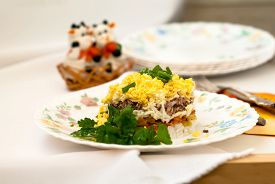 pic of mimosa  - Traditional Russian salad mimosa of canned fish eggs cheese carrots and mayonnaise - JPG
