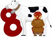stock photo of milkmaid  - Illustration of a Milkmaid Milking a Cow Beside a Number Eight - JPG