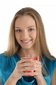 Woman with brackets on teeth and cup