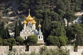 picture of church mary magdalene  - Church of Maria Magdalene on the Mount of Olives in Jerusalem Israel - JPG