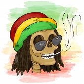 Постер, плакат: Vector Printable Hand Drawn Reggae Smoking Skull Wearing Rasta Hat Sunglasses And Dreadlocks On Wat