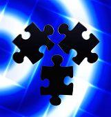 Puzzle Trio On Blue