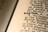 foto of pronunciation  - close-up of the word english in a dictionary.