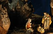 Night Shot Of A Nativity Scene