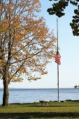 Flag At Half Staff In The Fall