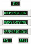 LCD displays with congratulatory inscriptions
