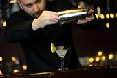 Bartender making cocktail poster