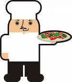 Fat Italian male man pizza chef