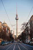 Television Tower And Mosque In Berlin, Germany.