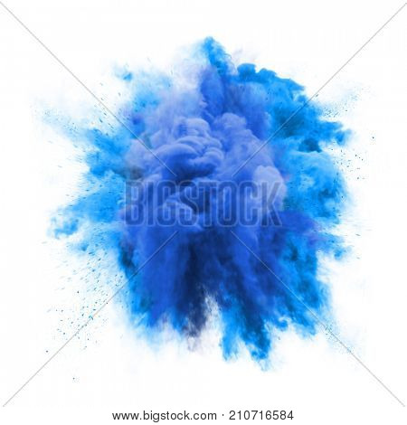 Paint Powder Explosion Or Abstract Color Splash Of Blue
