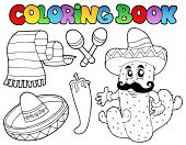 Coloring book with Mexican theme 2 - vector illustration.
