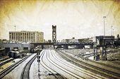 Vintage Design - Railroad In Big City