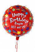 stock photo of happy birthday  - Colorful red balloon that says Happy Birthday - JPG