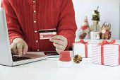 Woman Holding Credit Card And Doing Shopping Online. poster