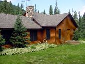 stock photo of log cabin  - cabin in the black hills - JPG