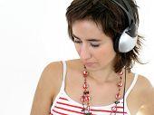 Girl Wearing Headphones poster