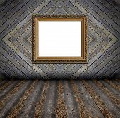 Old Style Painted Wooden Rough Planks Background With Frame And Artistic Shadows