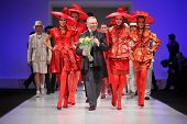 MOSCOW - FEBRUARY 22: Couturier Slava Zaytzev and models wear his clothing in the Collection Premier